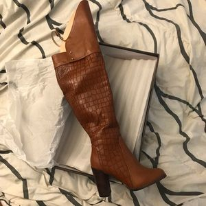 Leila Stone Over the knee boot Cognac color Sz 7.